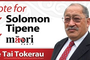 Maori Party candidate Solomon Tipene hammered up his first billboard in Whangarei yesterday. Photo / Supplied