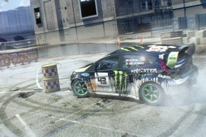 Virtual Ken Block gives his Ford Focus the jandal in gymkhana mode in DiRT 3. Photo / Supplied