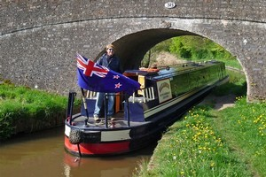 Standing atop the canal boat on the Pontcysyllte Aqueduct in Wales. Photo / Danielle Murray