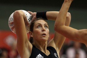 Irene Van Dyk of New Zealand shoots during game one of the series between the New Zealand Silver Ferns and the Australian Diamonds. Photo / Getty Images