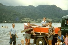 Launching the boat at Foster Bay [1959]. Photo / Supplied 