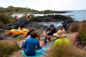 Kayakers stop for a hot lunch on Brown's Island. Photo / Andy Kenworthy