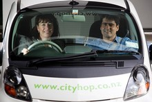 City Hop founder Victoria Carter with Bruce Jeffreys from Australia to help promote the car share scheme in NZ. Photo / Dean Purcell.