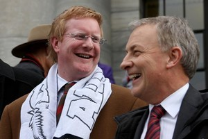 Darren Hughes with party leader Phil Goff at Parliament. Photo / Supplied