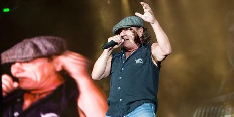 AC/DC's Brian Johnson performing during their concert at Westpac Stadium, Wellington, January 28 2010. Photo / Mark Mitchell