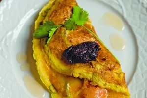 Sugar-cured prawn omelette with smoked chilli sambal. Photo / Supplied