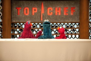 Sesame Street muppets drop in on the Top Chef contestants. Photo / Supplied