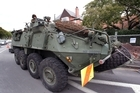 Army LAV patrols have been seen around the heavily cordoned CBD since Christchurch was hit by earthquakes, and will be around for at least another six months. Photo NZPA/Bradley Ambrose