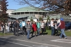 Students evacuated Canterbury University before the second, stronger, tremor hit. Photo / Geoff Sloan