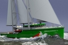 An artists' impression of the design for the new Greenpeace boat, Rainbow Warrior III. Photo / Supplied
