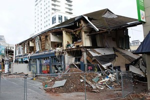 Buildings in Christchurch's red zone sustained fresh damage in last Monday's earthquakes. Photo / APN