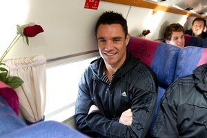 Dan Carter was on the plane to Wellington for tonight's Crusaders-Hurricanes game ... but his heart is still in Christchurch. Photo / Simon Baker