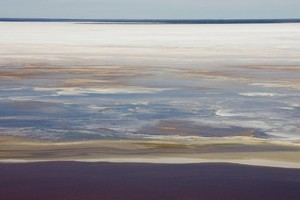 The colours of Lake Eyre turn pastel as it fills with flood waters from the northern rivers. Photo / Paul Estcourt