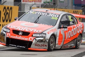Hot favourite race leader Jamie Whincup is keen to grab TeamVodafone's first pole position at Hidden Valley in the Northern Territory this weekend. Photo / Paul Estcourt