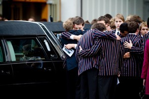 The funeral for King's College student David Gaynor. Photo / Dean Purcell