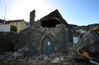 Monday's earthquake caused what was left of the Lyttelton Union Parish Church which was built in 1864 to smash its self to bits, and the shakes keep coming. Photo / Greg Bowker