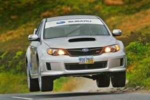 The WRX STi sedan  is fitted with a high-decibel exhaust to warn spectators to keep clear. Photo / Supplied