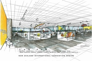 An artist's impression of 'The Hub' within the proposed convention centre. Image / Supplied