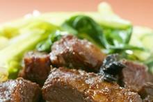 Bok choy with pork. Photo / Nicola Topping