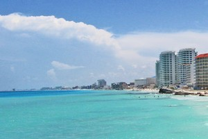 Hotels and apartments in Cancun overlooking the Caribbean. Photo / Graeme Barrow