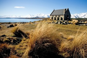 The Church of the Good Shepherd built in 1935 as a memorial to the pioneers of the Mackenzie Country at Lake Tekapo. Photo / Dean Purcell