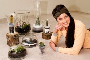 Mexican-born Luzette Godinez creates terraniums from her home. Photo / Babiche Martens