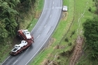 The scene of this morning's fatal crash on State Highway 3 near Urenui in Taranaki. Photo / Rob Tucker