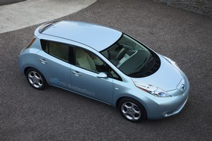 Nissan engineers are looking at the possibilities of turning the Leaf into a mobile generator for disaster situations. Photo / Supplied