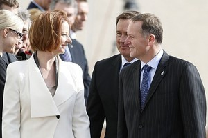 Australian PM Julia Gillard has welcomed Prime Minister John Key to the Australian Parliament with confirmation that the two countries will work more closely on emissions trading schemes. Photo / Getty Images