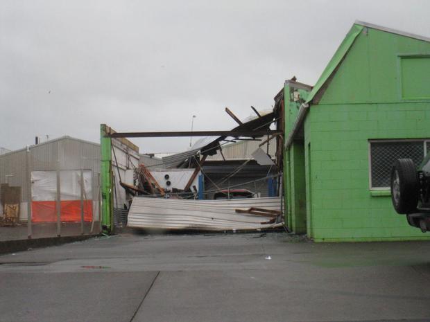 Tornado damage on Molesworth Street. Photo / Paul Lord