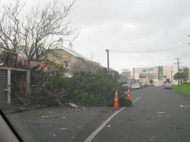 Tornado damage on Rogan Street. Photo / Paul Lord