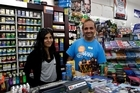 Shaivani Patel and Jayee Patel (owner) of Victoria Street News Agency, Auckland CBD. Photo / Brett Phibbs