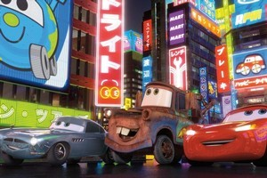 From left, Finn McMissile joins original Cars Mater and Lightning McQueen for the sequel, as does Holley Shiftwell. Photo / Supplied