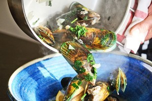 Moules mariniere - mussels in white wine. Photo / 	Jason Dorday