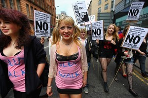 Demonstrators march on a Slutwalk in Glasgow, Scotland. Photo / Getty Images