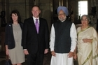 John and Bronagh Key have been welcomed to India by Prime Minister Manmohan Singh and his wife Gursharan Kaur. Photo / NZPA/Amelia Romanos