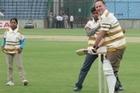 John Key at Feroz Shah Kotla Stadium, India. Photo / Claire Trevett.