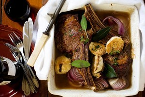 Rib roast with red wine roasted onions, bay and sage. Photo / Babiche Martens