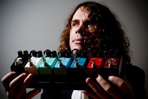 Ben Fulton with his Seven Sisters range of rechargeable effects pedals. Photo / Dean Purcell.