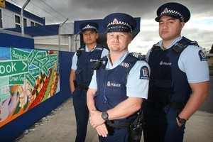 Members of the South Auckland Ferguson Neighbourhood Policing Team, from left, Constable Silao Nansen, Sergeant Jonathan Milne and Constable Junior Te'o. Photo / Silao Nansen