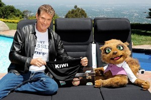 David Hasselhoff, pictured with Air New Zealand mascot Rico. Photo / Supplied