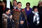 Hone Harawira is welcomed to the Rawhitiroa kura kaupapa in Whangarei yesterday for the Mana Party conference. Photo / Sarah Ivey