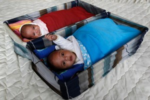 Twins Siunipa, (front) and Winnie Latu, 8 months old, can safely sleep in Pepi Pods next to mum and dad, advocates say.Photo / Sarah Ivey