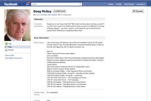 A bogus Facebook profile set up in the name of Auckland Council CEO Doug McKay. Photo / Supplied