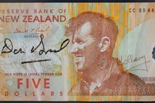 A personally signed $5 note of Sir Edmund Hillary. Photo / Greg Bowker 