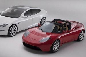 The Tesla Model S (left) and Lotus Elise-based Roadster. Photo / Supplied