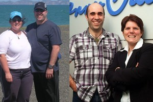 Mark Reyef and Tracey Blunn chowed down on pies and hot chips but have now managed to lose 30kg each. Photos / Supplied, Kerry Grant