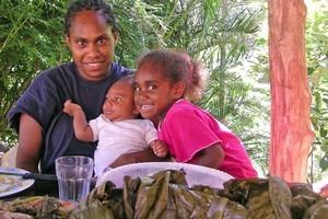 Priscille, Kaaea and Djaoun Pwidja at the Napoemien tribal village. Photo / Sue Baxalle