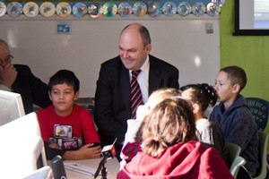 Communications minister Steven Joyce at Henderson Valley School this morning for the launch of the Rural Broadband Initiatve. Photo / Supplied