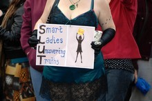 Protestors at SlutWalk Aotearoa in Auckland. Photo / Michael Craig
